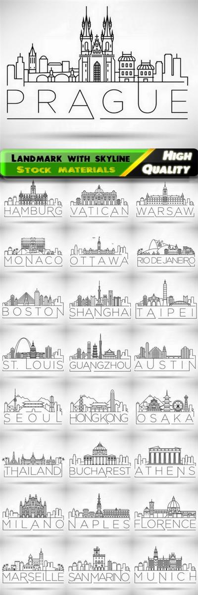 Cityscape with line building and landmark with skyline in vector from stock