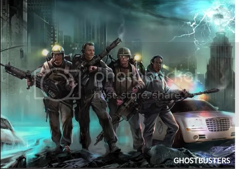 Image from the upcoming Ghostbusters game. Ray Stanz, Peter Venkman, Egon Spengler, and. . . .some other guy (thats certainly NOT Winston Zedmore!)?