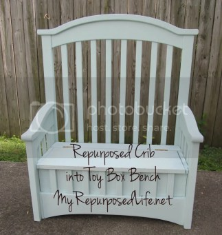 crib repurposed into a tox box with a bench