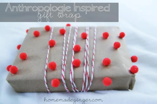 For a fun gift wrapping idea, make some pom pom gift wrap inspired by Anthropologie, but at a fraction of the price!