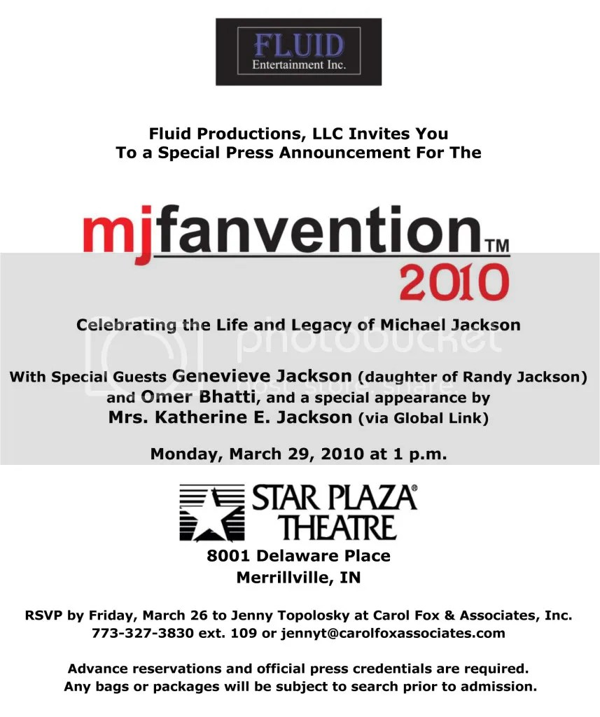 MJ Fanvention Press Invitation