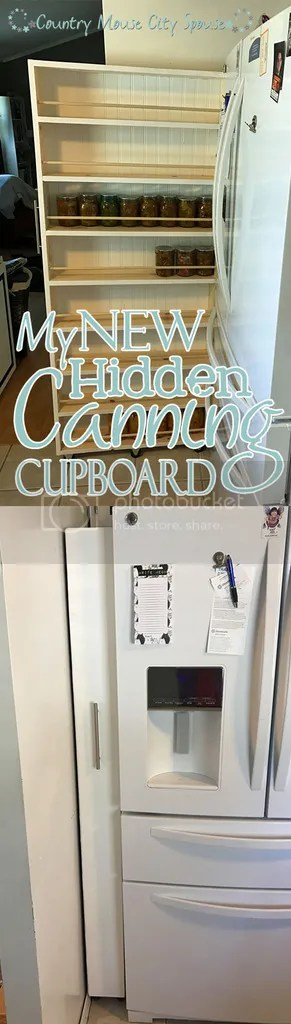 My New Hidden Canning Cupboard- Country Mouse City Spouse When we got the new fridge, it left a small gap beside the wall, which I knew could be transformed into usable storage with a little work.
