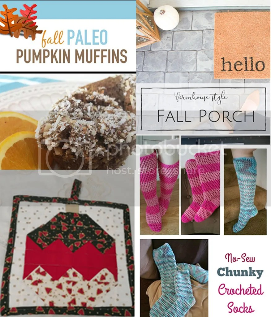 Country Mouse City Spouse Monday Mish Mash Link Party #41 Features: Healthy Easy Pumpkin Muffins @ Your Vibrant Family; Cozy Farmhouse Style Front Porch @ Making it in the Mountains; No-Sew Chunky Crocheted Socks @ Reviews, Chews & How-To's; Quilted Christmas Bauble Pot Holder & Free Pattern @ Domesblissity