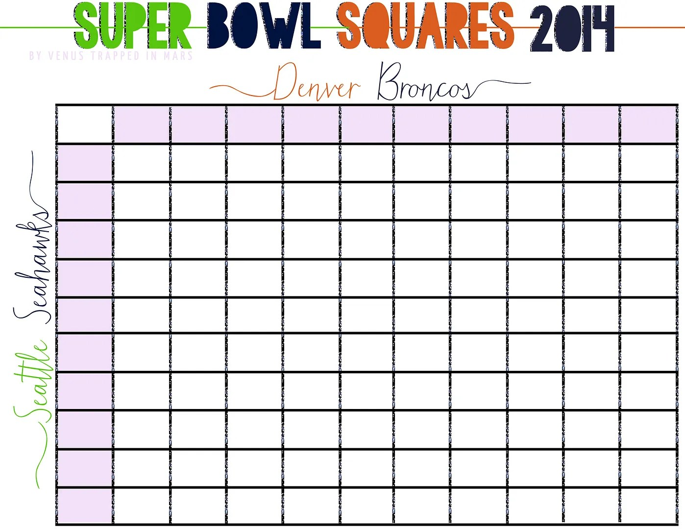 Super Bowl Squares Free Printable For Your Party How To Play