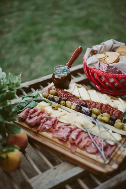 Cheese Platter Ideas Meat Salami Prosciutto Olives Kalamata Green Olives Crostini Dipping Bowls Antipasto Salad