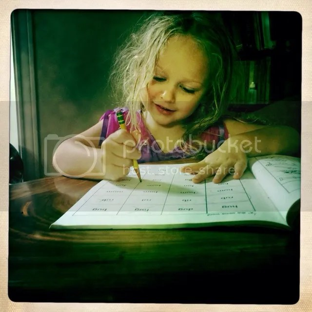 Vivi doing school work