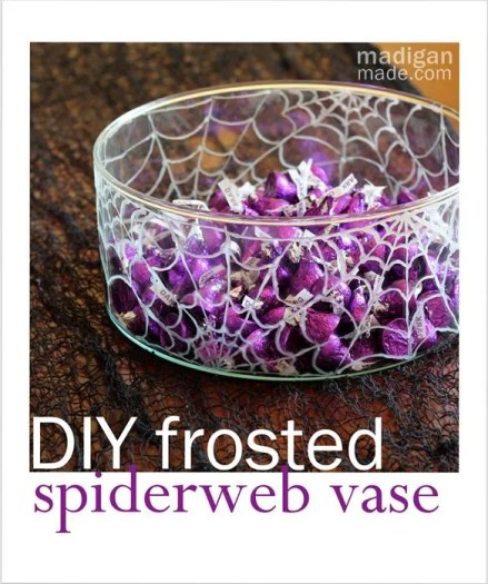 Paint a vase with frosted glass paint for a spiderweb Halloween candy bowl - madiganmade.com