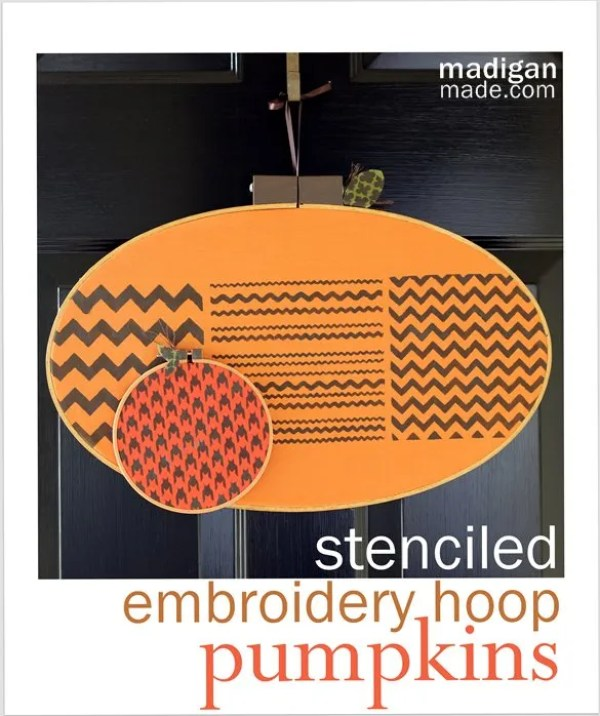 Stenciled embroidery hoop pumpkin craft - tutorial at madiganmade.com