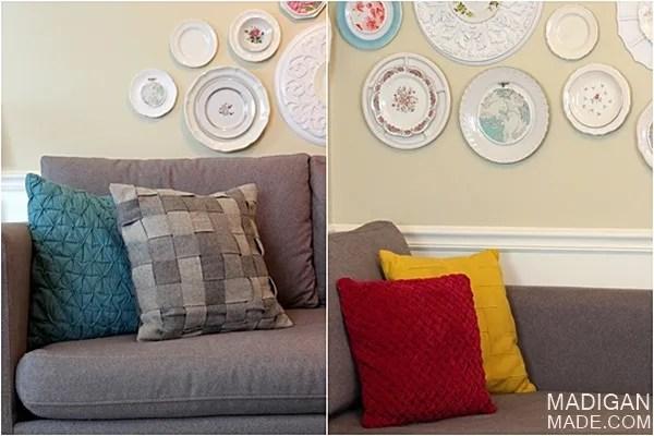 textured CMYK pillows and DIY gallery wall art