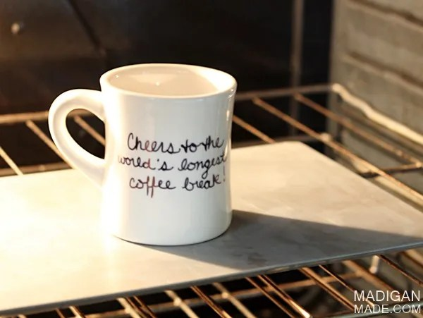 DIY sharpie mug - bake it in the oven to set the ink