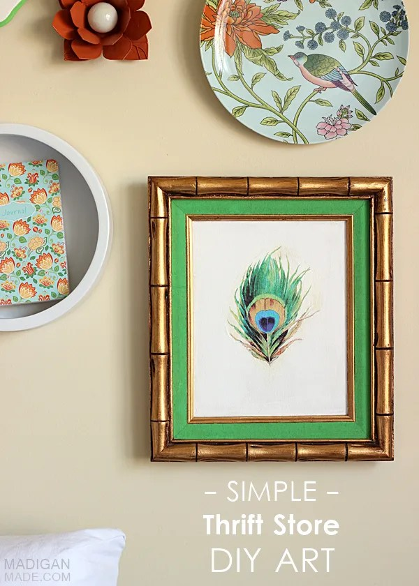 Simple DIY Thrift Store Wall Art Idea: paint over a frame and apply a vintage image