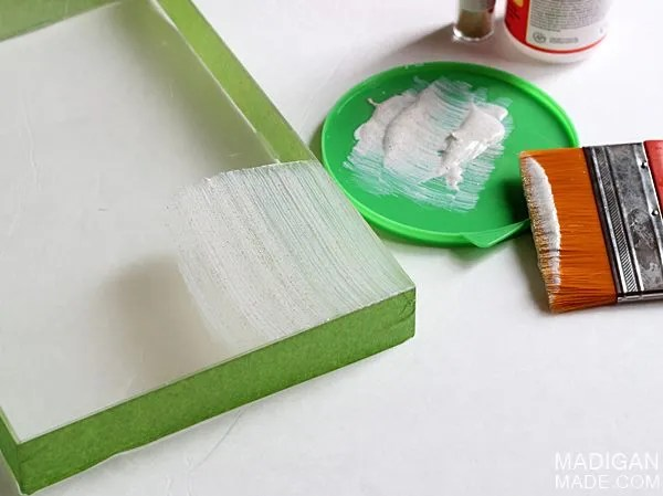 turn an acrylic frame into a tray with glitter
