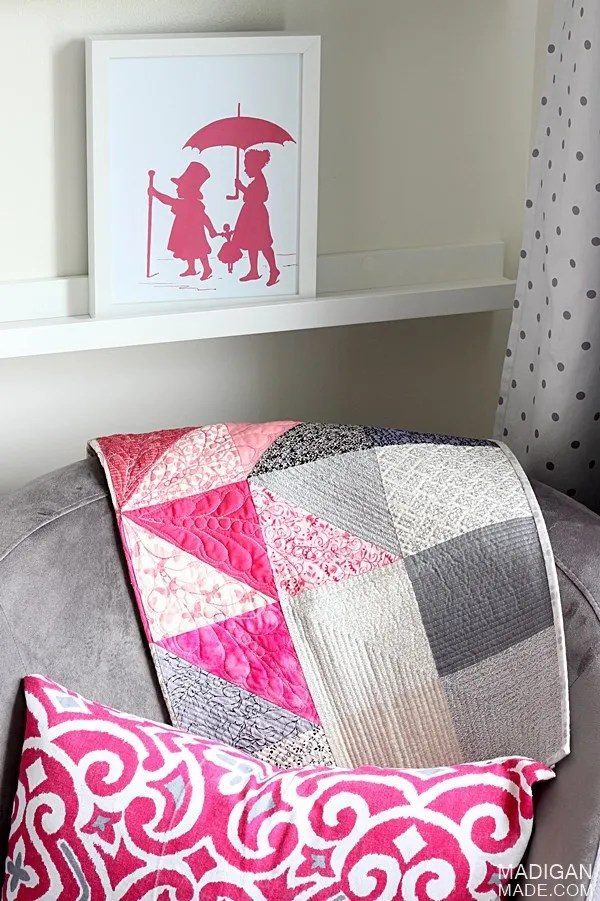 baby quilt and glider ideas for a pink and gray nursery