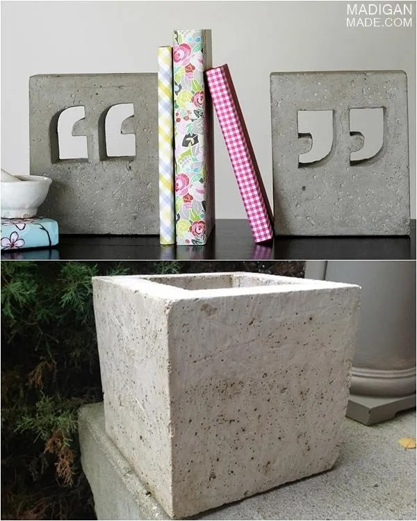 He builds his own molds and uses a custom blend of concrete mix. Aside from  bookends, he's made modern planters like this one below that he gave my mom.