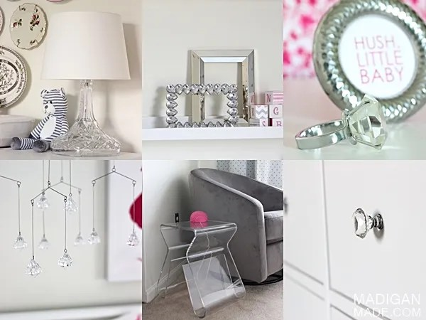 crystal accents for a baby girls room