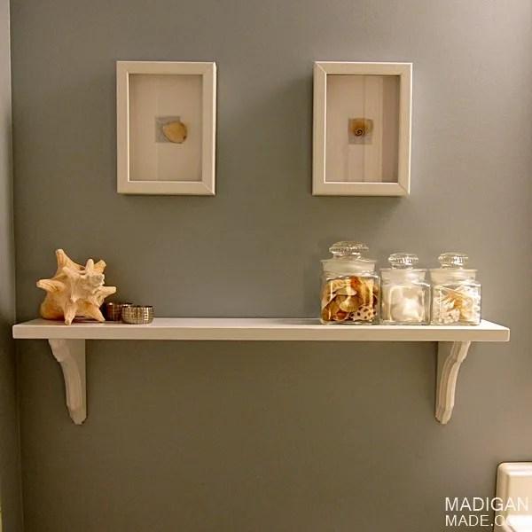 DIY cafe shelves for the bathroom