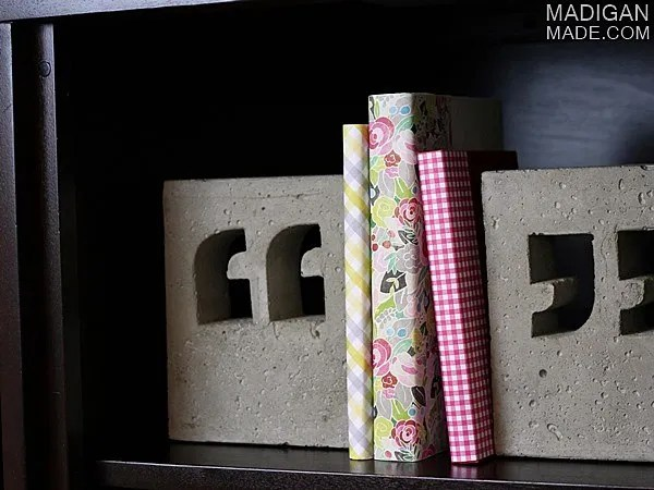 DIY concrete bookends and paper covered books