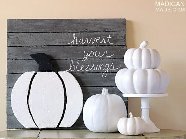 DIY pallet art using foam with harvest inspired quote