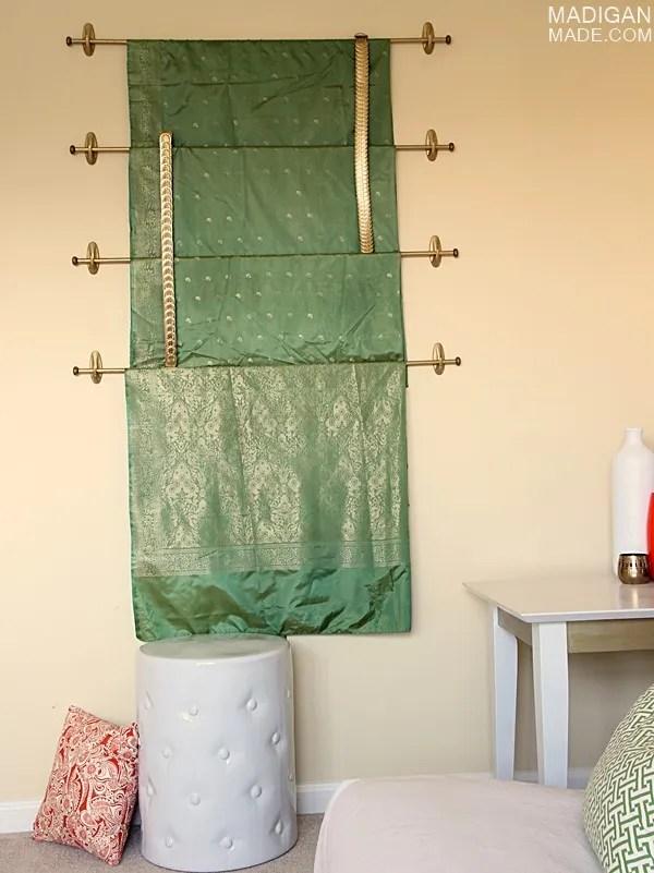 DIY sari as wall art idea