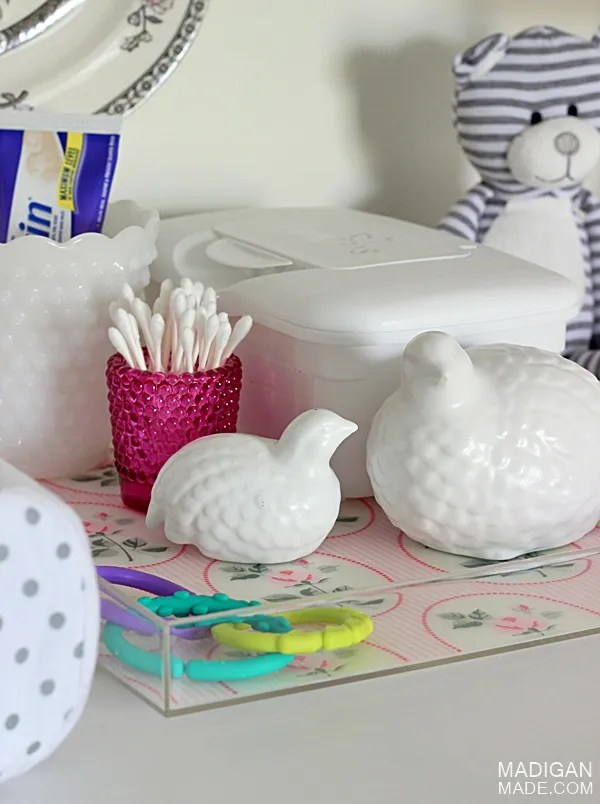 nursery changing table storage tray