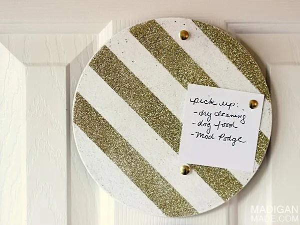 Update a corkboard with glitter stripes
