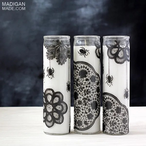 Halloween painted glass candle craft