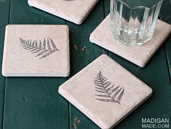 Super easy DIY coasters made from tile