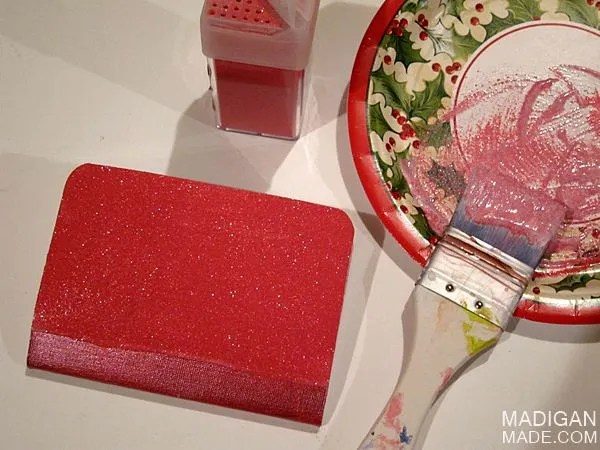 how to cover notebooks with glitter and decoupage