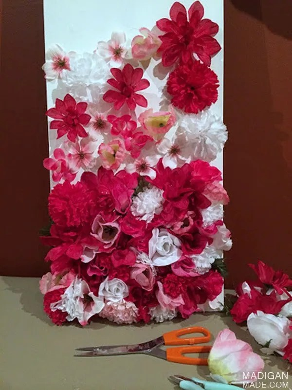 Silk flower diy wall art for the nursery rosyscription for Picture arrangements for large walls
