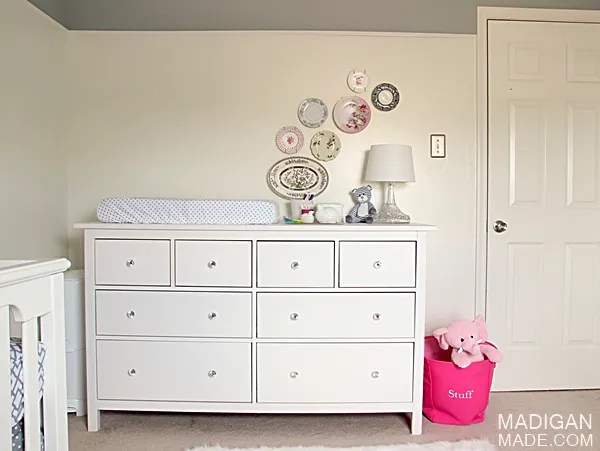IKEA HEMNES dresser as a changing table area