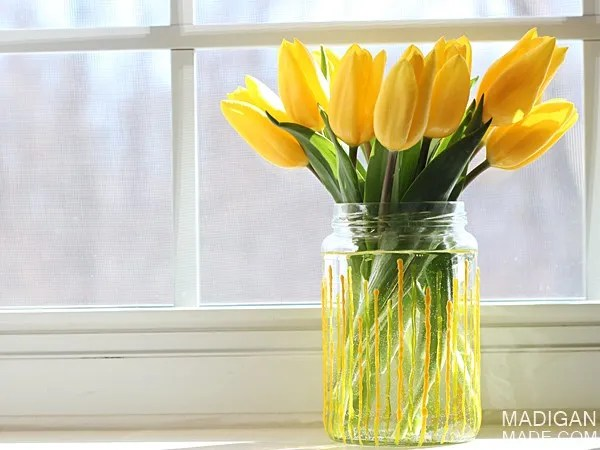 Easy Yellow Stripe DIY Painted Spring Vase from a Jar