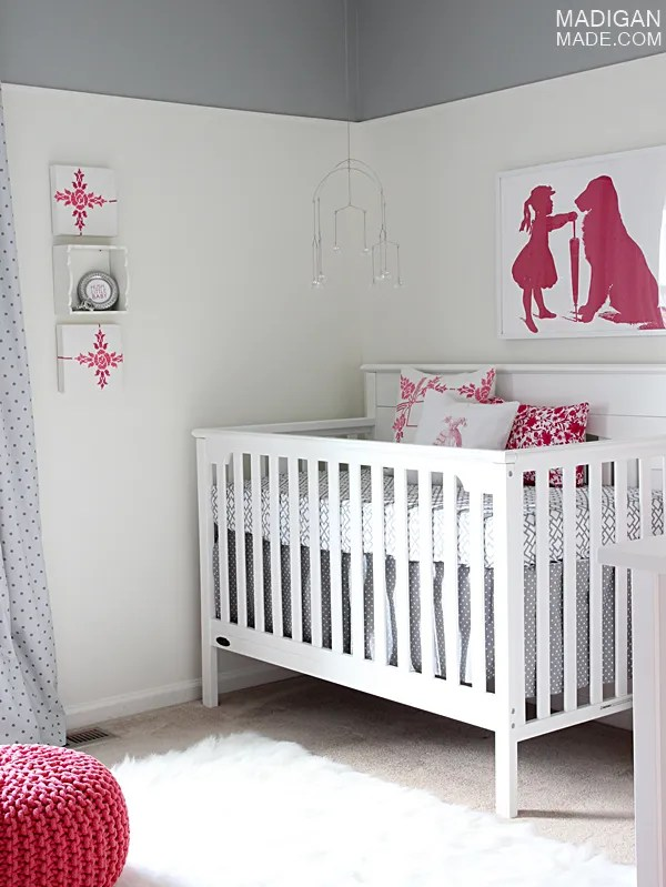 pink and gray baby's nursery decor