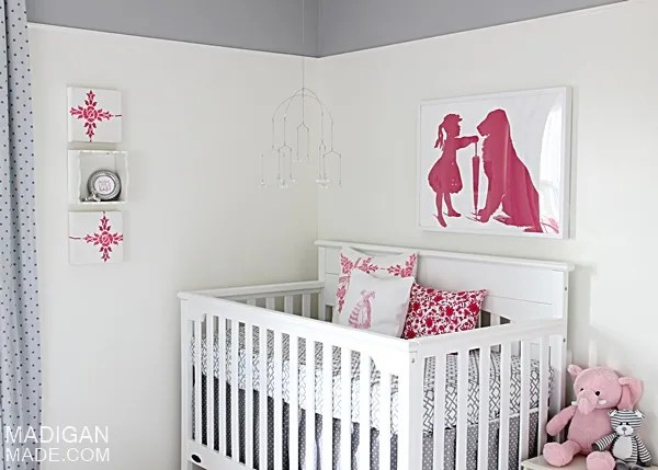 Pink and gray vintage nursery ideas