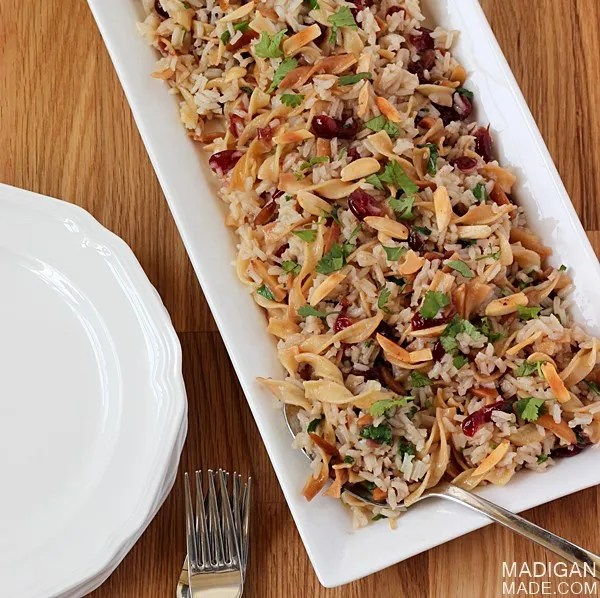 Easy and simple rice pilaf recipe (plus 11 other holiday dinner recipe ideas!)