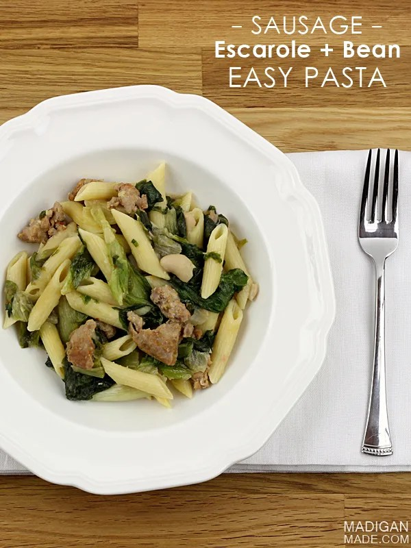 Sausage, Escarole and Beans with Pasta - a perfect winter weeknight meal idea!