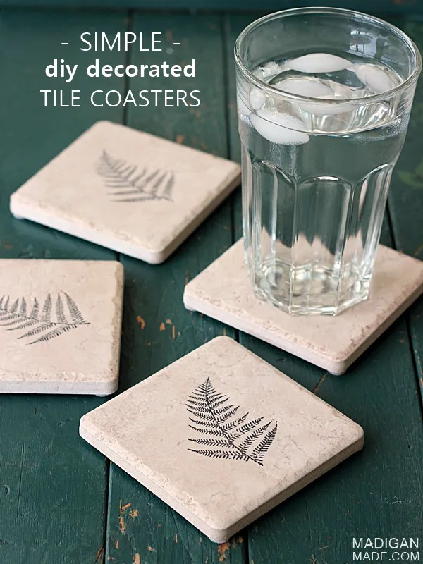 Super easy DIY coasters made from tile (these would make great handmade gifts)