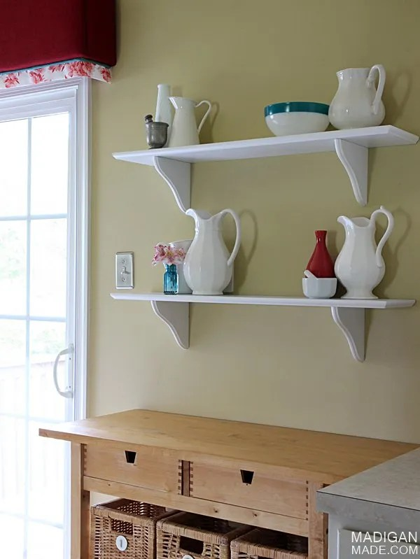 Simple cafe shelves and kitchen decor (part of the Summer Tour of Homes with The Shabby Creek Cottage)
