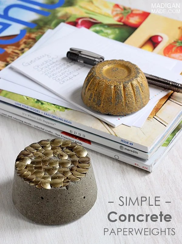 Easy Concrete Gilded Paperweights Rosyscription