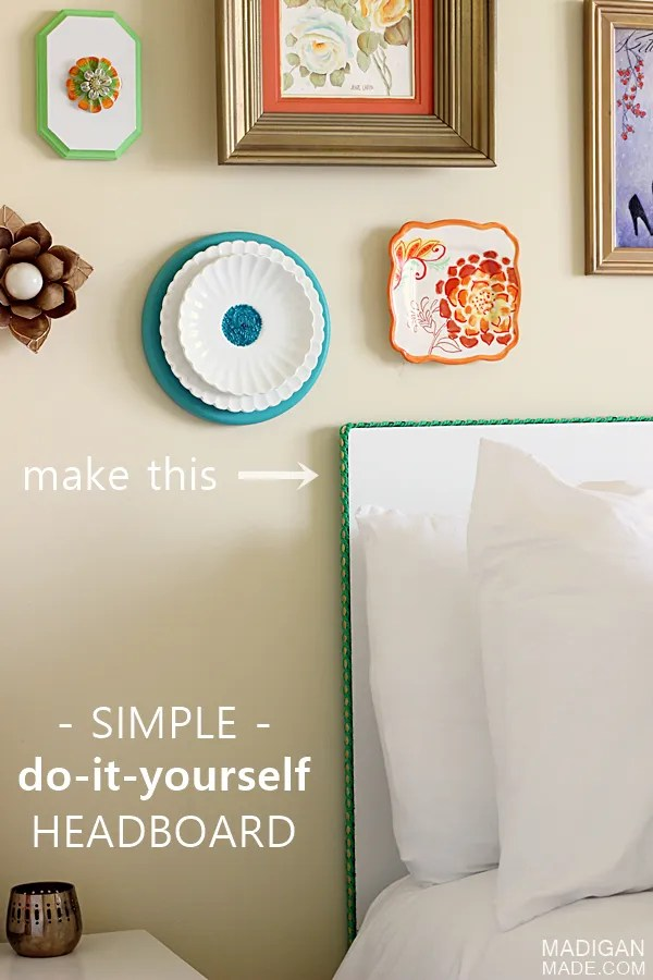 Simple DIY headboard idea - if you can hang a picture, you can make this headboard!