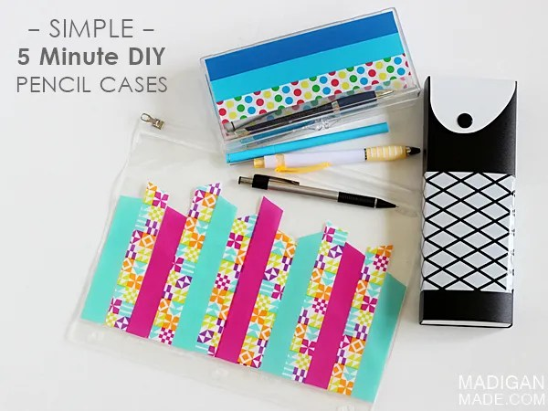Simple 5 minute DIY pencil case ideas - use cute tape!  #ScotchBTS