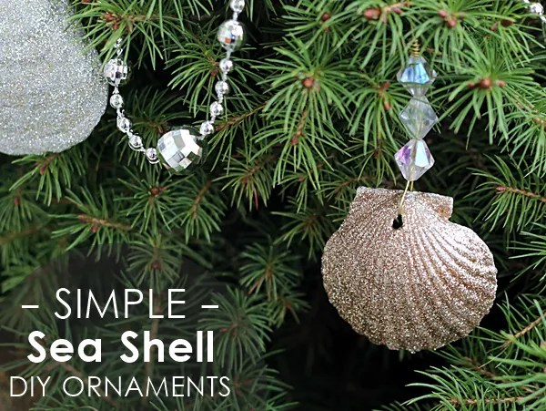 glitter sea shell ornaments