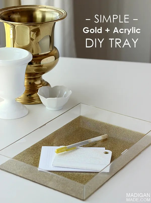 Simple gold and glitter acrylic DIY tray (made from an old clear box frame!)
