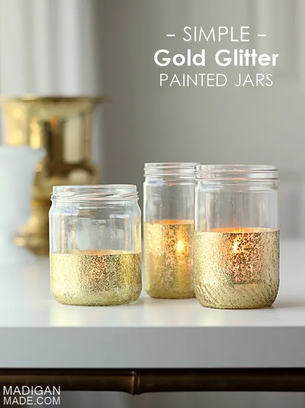 Simple gold glitter dipped jars - easy DIY with painter's tape and glass paint