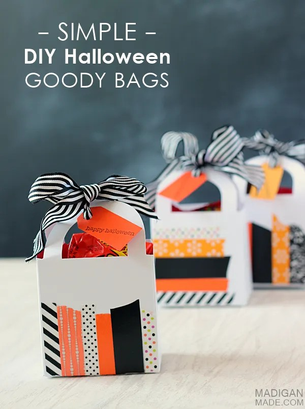 Simple Halloween goody bags made with washi tape