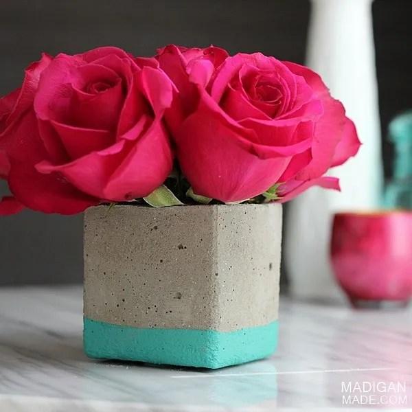 Square DIY dipped concrete vase