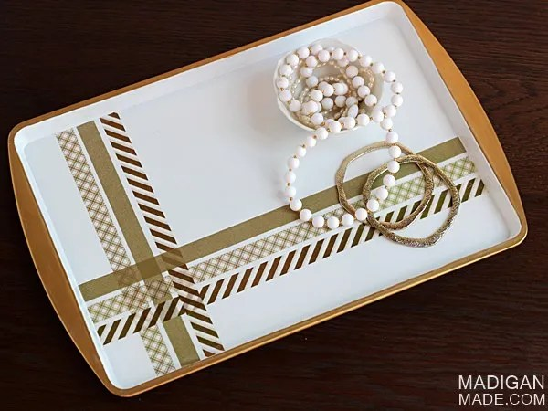 Make a pretty tray from a cookie sheet. Step-by-step tutorial.