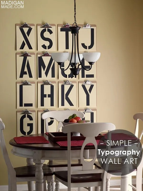 Simple typography wall art with clip boards