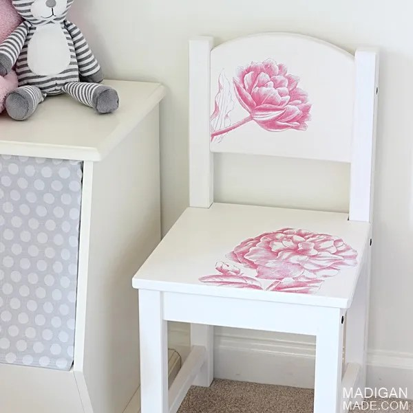 Vintage floral kids chair - a DIY project with photo transfer medium