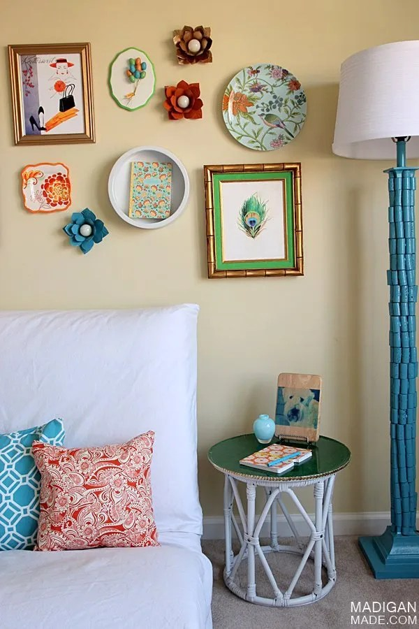 colorful vintage gallery wall DIY ideas