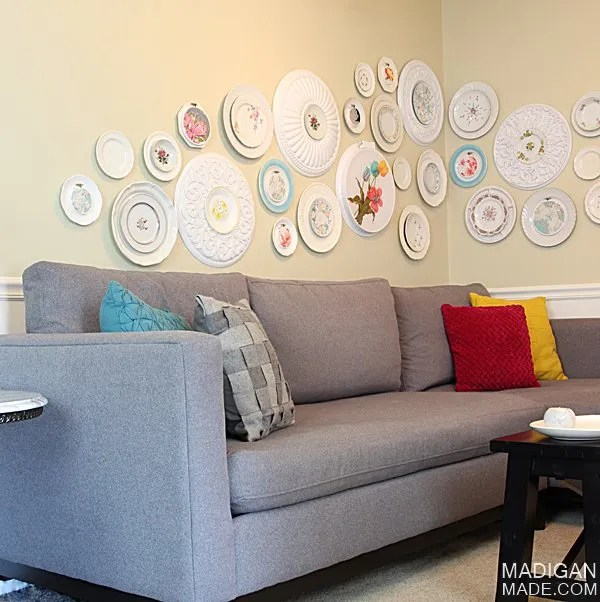 Simple and pretty wall art from vintage plates, hoops, fabric and ceiling medallions